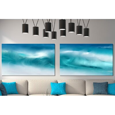 'Blue Ocean Waves on the Beach Panoramic' Graphic Art Print Multi-Piece Image on Wrapped Canvas Size: 18