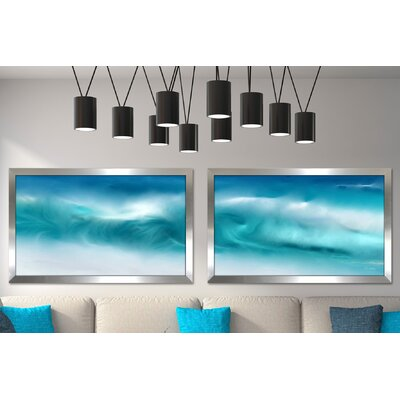 'Blue Ocean Waves on the Beach Panoramic' Framed Graphic Art Print Multi-Piece Image Size: 22