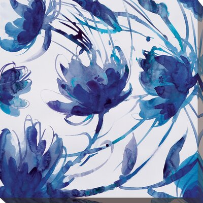 'Indigo Swirl II' Painting Print on Wrapped Canvas Size: 18