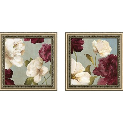 'Deep Peonies II' 2 Piece Framed Acrylic Painting Print Set Under Glass