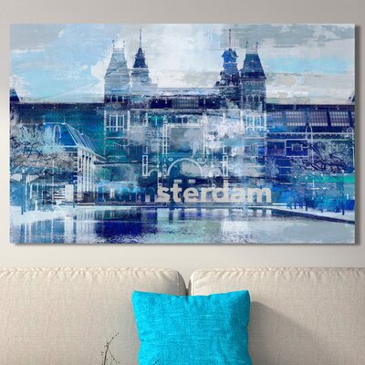 'I Amsterdam I' Graphic Art Print on Canvas Size: 18