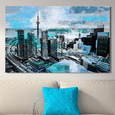'Toronto City View IV' Graphic Art Print on Wrapped Canvas Size: 18