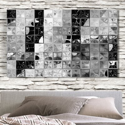 'Shades of Graytile Mosaic' Painting Print on Wrapped Canvas Size: 18