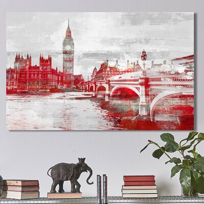 'Big Ben II' Graphic Art Print on Wrapped Canvas Size: 18