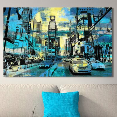 'Times Square I' Graphic Art Print on Wrapped Canvas Size: 18
