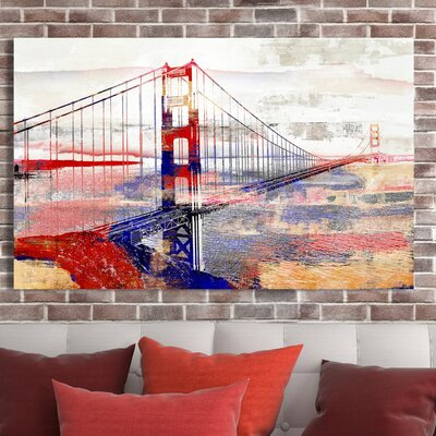 'Golden Gate Bridge III' Graphic Art Print on Wrapped Canvas Size: 18