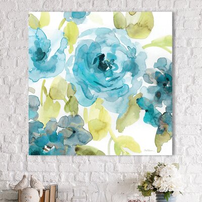 'Belles Blue Ii' Graphic Art Print on Wrapped Canvas Size: 18