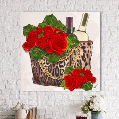 'Wine and Roses' Watercolor Painting Print Format: Black Framed, Size: 13.5