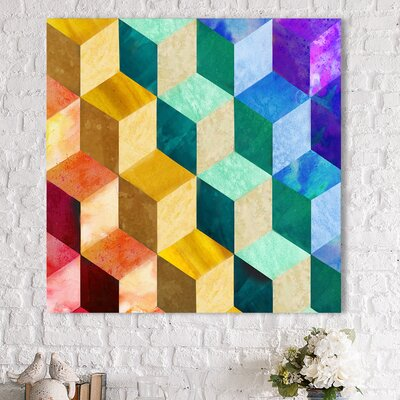 'Rainbow Blocks' Graphic Art Print on Wrapped Canvas Size: 18