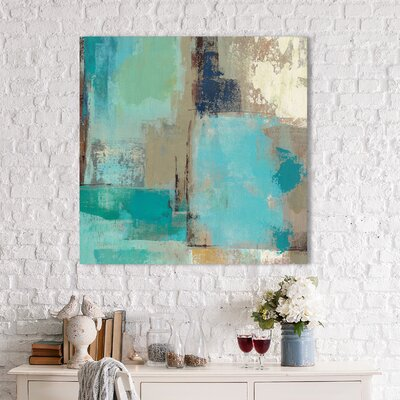 'Teal and Aqua Reflections II' Painting Print on Wrapped Canvas Size: 18