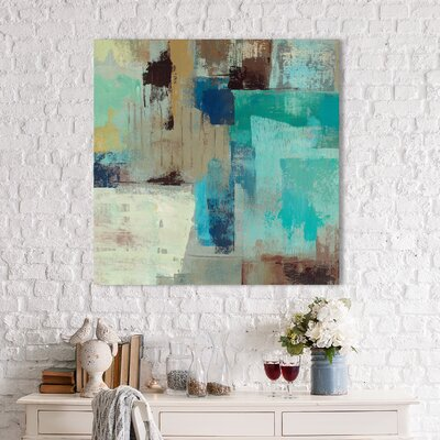 'Teal and Aqua Reflections III' Painting Print on Wrapped Canvas Size: 18