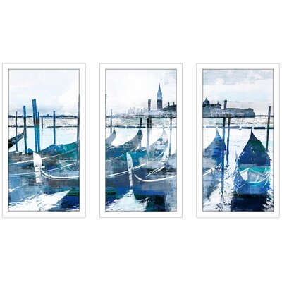 'Gondolas I' Framed Graphic Art Print Multi-Piece Image on Glass Size: 25.5
