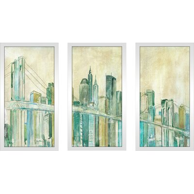 'New York City Sketch' Framed Acrylic Painting Print Multi-Piece Image on Glass Size: 25.5