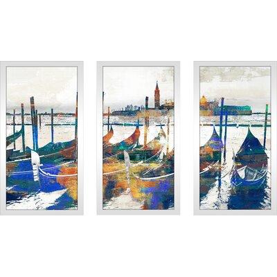'Gondolas III' Framed Graphic Art Print Multi-Piece Image on Glass Size: 25.5