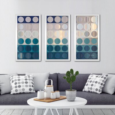'Circles and Squares 51, Ocean Blues' Framed Acrylic Painting Print Multi-Piece Image on Glass Size: 25.5