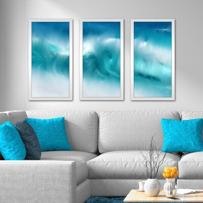 'Blue Ocean Waves on the Beach Panoramic' Framed Acrylic Painting Print Multi-Piece Image on Glass Size: 25.5