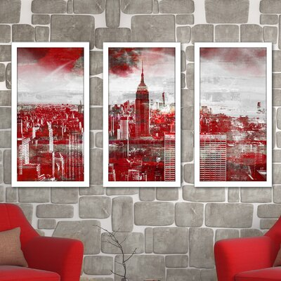 'Empire State Building 3' Framed Graphic Art Print Multi-Piece Image on Glass Size: 25.5