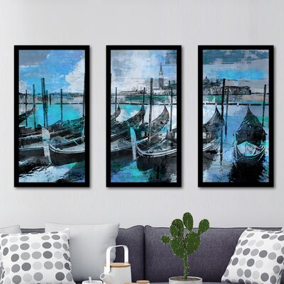 'Gondolas IV' Framed Graphic Art Print Multi-Piece Image on Glass Size: 25.5