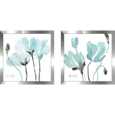 'Teal Magnolias I' 2 Piece Framed Print Set on Glass