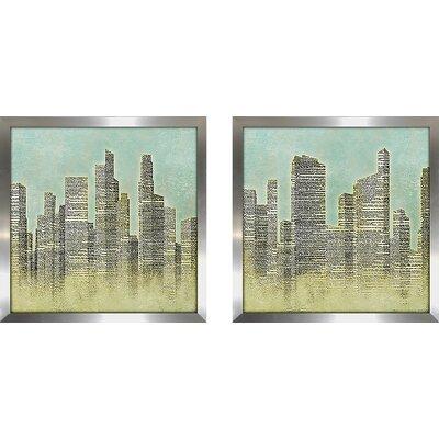'The City I' 2 Piece Framed Graphic Art Print Set on Glass