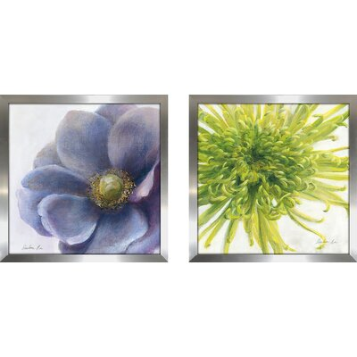 'Contemporary Chrysanthemum' 2 Piece Framed Print Set on Glass