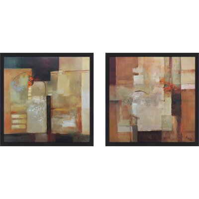 'Sienna Abstract I' 2 Piece Framed Print Set on Glass