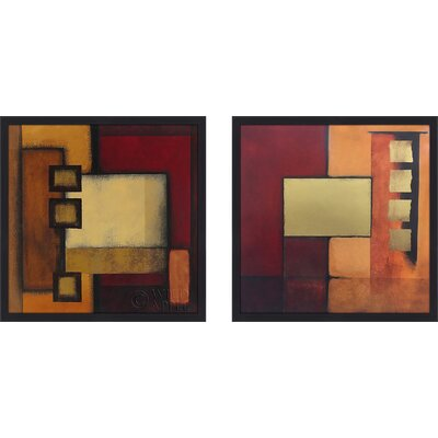 'Geometric Abstract I' 2 Piece Framed Print Set on Glass