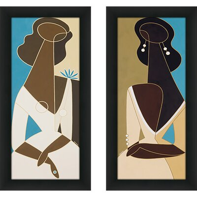'Sultry Pearls I' 2 Piece Framed Graphic Art Print Set