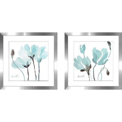 'Teal Magnolias I' 2 Piece Framed Watercolor Painting Print Set