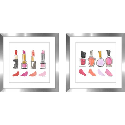 'Beauty Products Square I' 2 Piece Framed Watercolor Painting Print Set