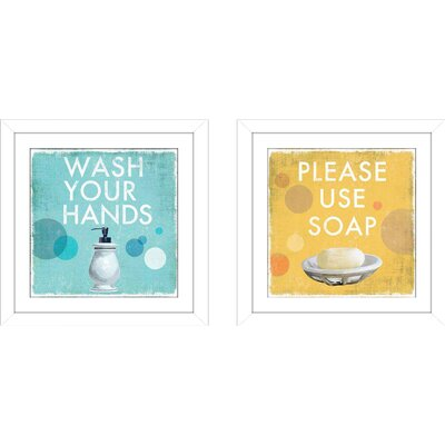 'Please Use Soap' 2 Piece Framed Graphic Art Print Set