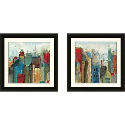 'Sunlight City II' 2 Piece Framed Acrylic Painting Print Set