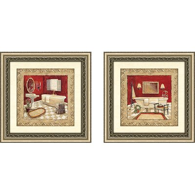 'Salon Rouge' 2 Piece Framed Acrylic Painting Print Set