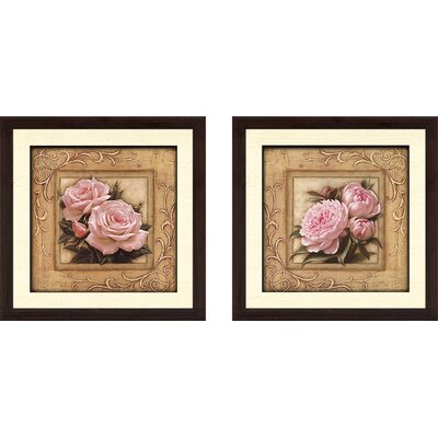 'Pretty in Pink Peonies' 2 Piece Framed Graphic Art Print Set