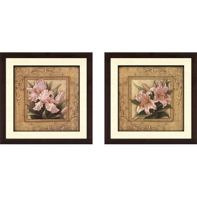 'Pretty in Pink Lilies' 2 Piece Framed Graphic Art Print Set