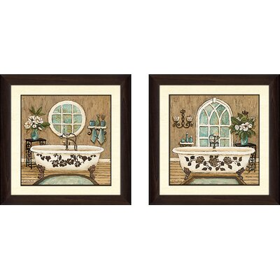 'Country Bath' 2 Piece Framed Acrylic Painting Print Set