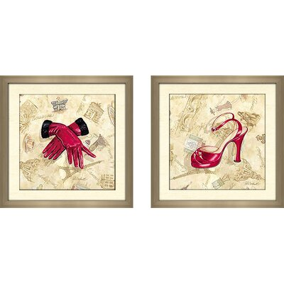 'French Handbag' 2 Piece Framed Graphic Art Print Set