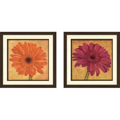 'Pink Gerbera' 2 Piece Framed Acrylic Painting Print Set