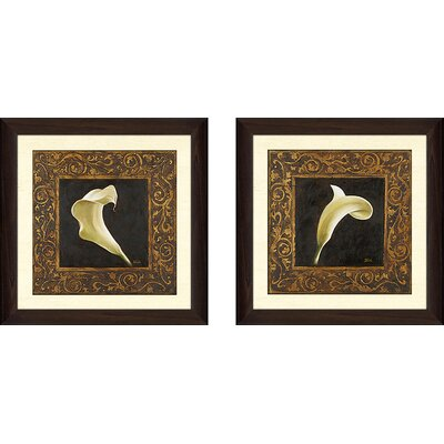 'Flowers II' 2 Piece Framed Graphic Art Print Set