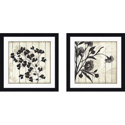 'Shadow On Wood II' 2 Piece Framed Graphic Art Print Set