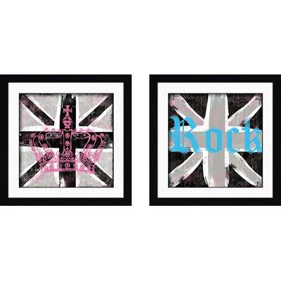 'Union Jack II' 2 Piece Framed Graphic Art Print Set