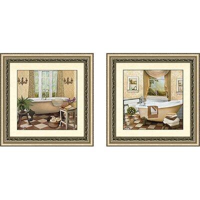 'French Bath II' 2 Piece Framed Acrylic Painting Print Set