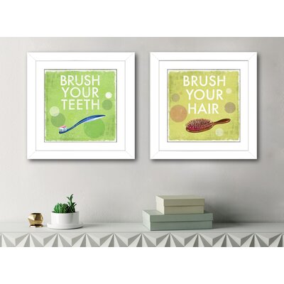 'Brush Your Hair' 2 Piece Framed Graphic Art Print Set