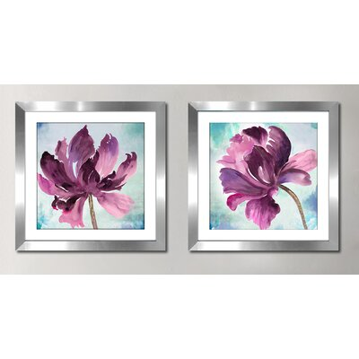 'Tye Dye Floral II' 2 Piece Framed Watercolor Painting Print Set