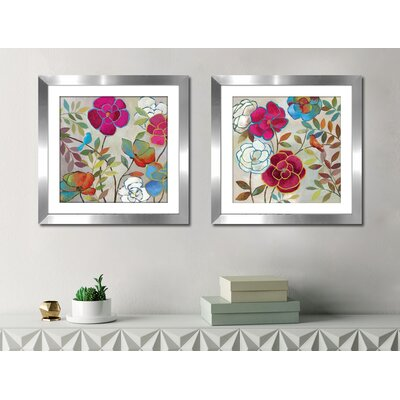 'Summer Impressions II' 2 Piece Framed Watercolor Painting Print Set