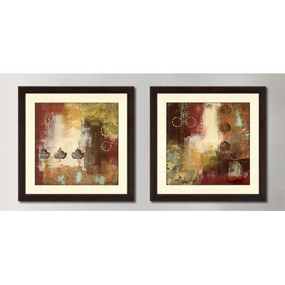'Metallic Nature' 2 Piece Framed Acrylic Painting Print Set