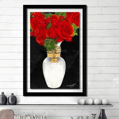 'Flowers in Red' Framed Graphic Art Print Size: 27.5