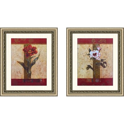 'Chinese Peony' 2 Piece Framed Acrylic Painting Print Set