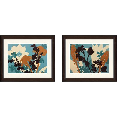 'Silhouette Flower Aqua II' 2 Piece Framed Graphic Art Print Set
