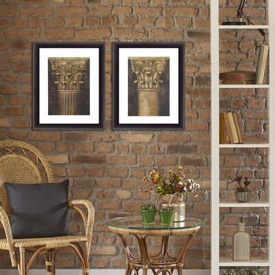 'Fluted Column' 2 Piece Framed Acrylic Painting Print Set